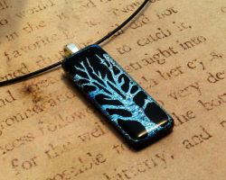 Frost Tree of Life Glass Fusion Necklace Pendant by FusedElegance