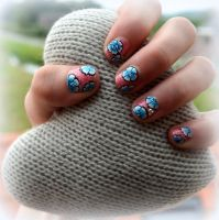Nail Art - Blue one stroke flowers by Monique-Art