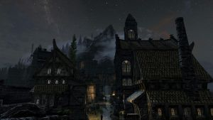 Skyrim - Night at Solitude city. by Pokethulhu