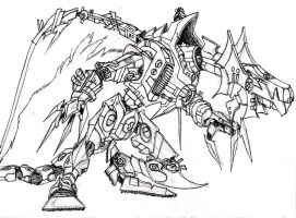Ultimate Mecha Dragon Line art by SailorBacon