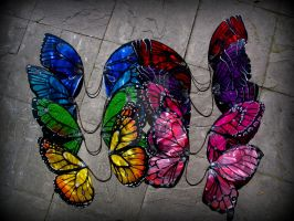 Rainbow of large butterfly fairy wings by Twinkleallday