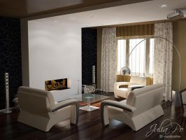 Brown House. Living Room by CheShindra