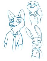 Zootopia Sketches, Nick and Judy by northstar2x