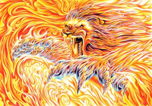 Fire lion by Oladara