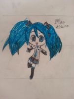 Hatsune Miku Chibi Colored Sketch by MikuHLovex