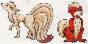 Growlithe and Ninetails Commission by Aura-Cat