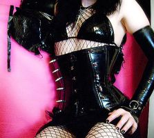 Black PVC corset with spikes by Lola--Ebola