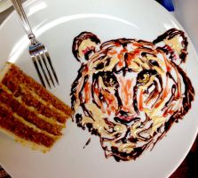 Tiger Cake Plate by Adriellovesart