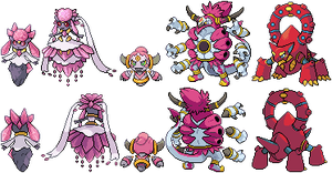 (Mega) Diancie, Hoopa, and Volcanion