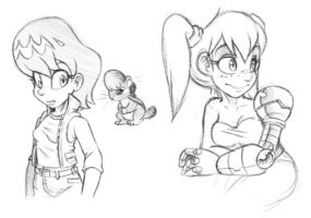 Human Sally and Bunnie Doodles by CatbeeCache