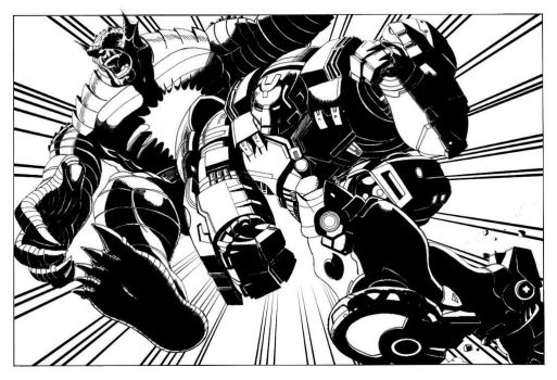 Hulkbuster v Abomination WIP by MisterFear