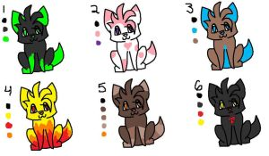Point Wolf Adoptables - CLOSED by ruawolf