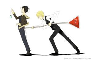 Shizuo hits Izaya by traffic sign by Neo-N