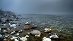 River in the fog by BL4CK1N6