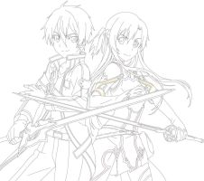Kirito and Asuna by Miya-chan1000