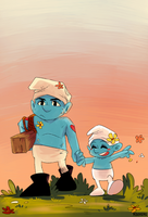 Smurfs: Hefty and baby Vanity by student-yuuto