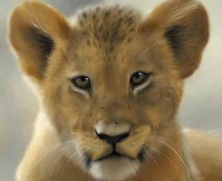 Lion Cub Painting by jamiemcl