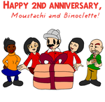 Happy 2nd anniversary Moustachi and Binoclette! by Aso-Designer