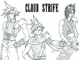 Cloud: Now and Then. +lineart+ by X-satsuki-X