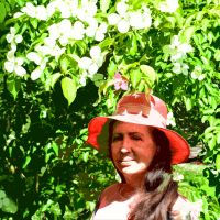 Sun Hat And Dogwood Blossom paper Cut Out Portrait by aegiandyad