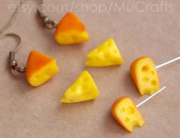 cheese earrings by BadgersBakery