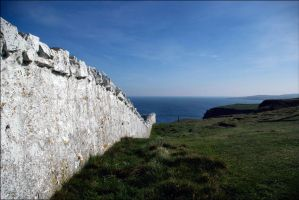 The Wall Of The Lighhouse At St. Abb's Head by tamaskatai