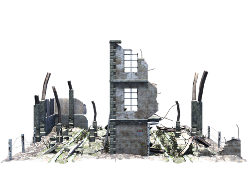 Ruined Building Stock PNG Pack by cgartiste