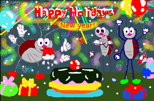 happy holidays and new year funny card by primavistax