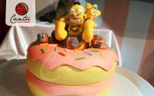 Simpsons Donut cake by Hom-Bones