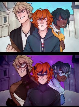 Miraculous OCs - The spandex trio by AllenKnightray