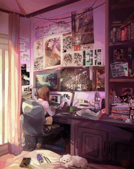 24/7=Heaven: Bedroom Study by renkarts