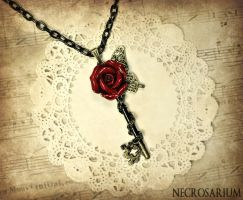 Rose Butterfly Key Necklace by Necrosarium