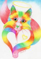 rainbow cat by cuteart13