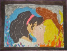 Disney's Esmeralda and Phoebus romantic kiss! by NightmareDC