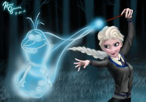 Elsa as a Ravenclaw girl and Olaf as her patronus by hazelgutierrez