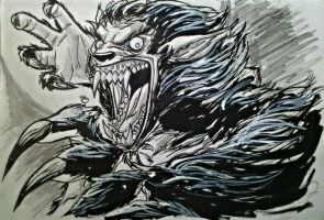 Inktober: The Beast Within by BluBoiArt