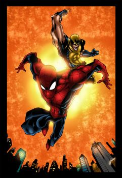Spidey and Wolverine by MarcBourcier