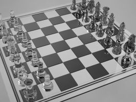 Glass chess table v-ray by HtmPaius