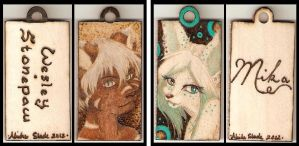 Wes and Mika Wooden Pendants by Aliehs