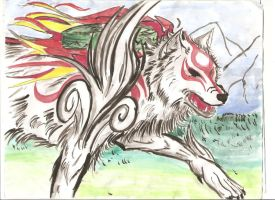 Okami Painting in watercolour by SubwaymasterMegumi