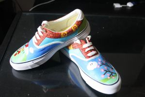 Custom painted Mario-themed shoes-together by methodmonkey