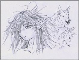 SKETCH_Girl with 2 fox-wolves by WhiteSpiritWolf