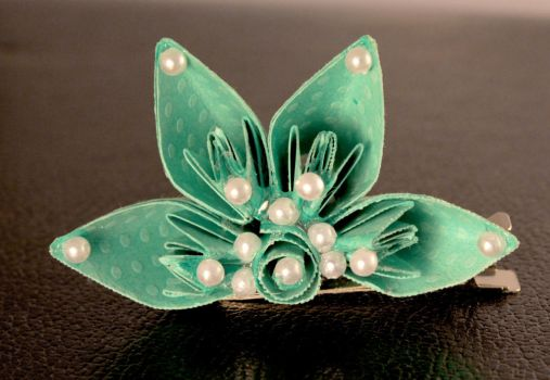 Artisan Half Flower Paper Hair Clip in Turquoise by SmexySarah