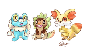 X and Y Starters gen 6 by LizardonEievui13