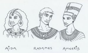 Aida, Radames and Amneris by KidaGreenleaf