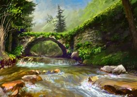 TheOldRomanBridge at the foot of theCanyonFalls by Rizov
