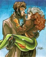 Marvel Universe 2011 AP: Rogue + Gambit by skardash