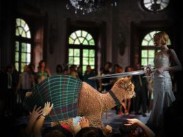 Larry the Llama gets knighted by BigA-nt