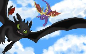 Spyro and Toothless by Anime-Reality
