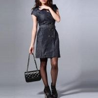 Double-breasted Tencel Denim Dress by Kangxiao